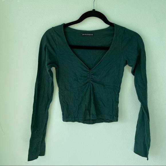 Green Long Sleeve Brandy Melville Crop Top